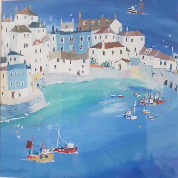 Sue McDonald Original Acrylic Painting Entitled Going Fishing in St Ives - Price £350